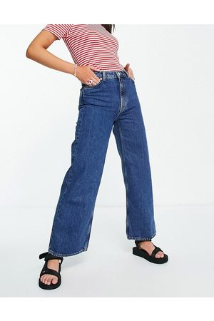 Monki Yoko organic cotton cropped wide leg jeans in blue-Blues