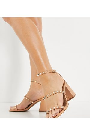 ASOS Wide Fit Win studded mid heeled sandals in -Neutral