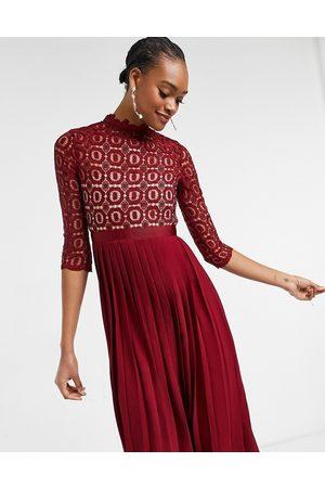 Little Mistress 2-in-1 crochet lace dress with pleated skirt in oxblood