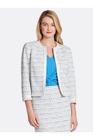 Tahari ASL Women Jackets - Stripe Fringe-Edged Jacket Lapis Ivory Stripe Texture Size: 12