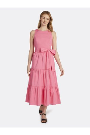Tahari ASL Women Dresses - Cotton Poplin Tiered Dress Azalea Size: 10