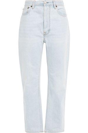 Acne Studios Woman Log Distressed High-rise Straight-leg Jeans Light Denim Size 25W-32L