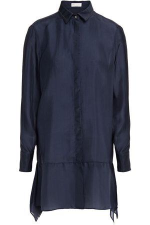 Brunello Cucinelli Woman Bead-embellished Silk-voile Shirt Navy Size M