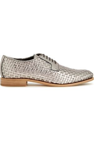 Brunello Cucinelli Woman Metallic Woven Leather Brogues Size 37