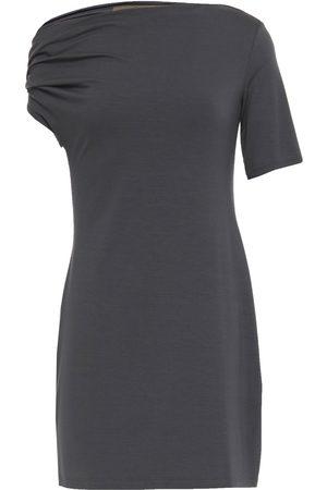 ENZA COSTA Woman Asymmetric Stretch-jersey Mini Dress Anthracite Size L