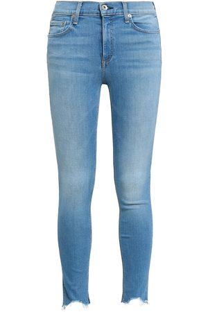 RAG&BONE Woman Cropped Frayed Mid-rise Skinny Jeans Light Denim Size 28