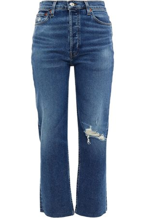 RE/DONE Woman Cropped Distressed High-rise Straight-leg Jeans Dark Denim Size 23