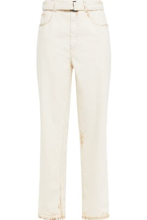 Brunello Cucinelli Woman Belted Distressed High-rise Straight-leg Jeans Ivory Size 42