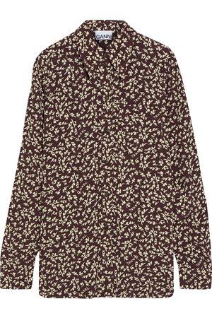Ganni Woman Gingham Woven Shirt Chocolate Size 32