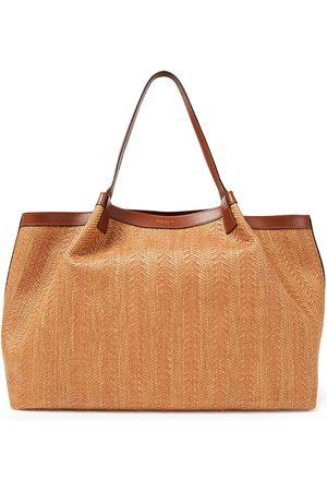 SERAPIAN Woman Secret Medium Leather-trimmed Raffia Tote Size