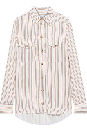 Victoria Beckham Woman Striped Sateen Shirt Size 10