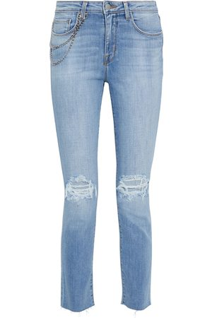 L'Agence Woman Luna Chain-embellished Distressed High-rise Straight-leg Jeans Light Denim Size 23