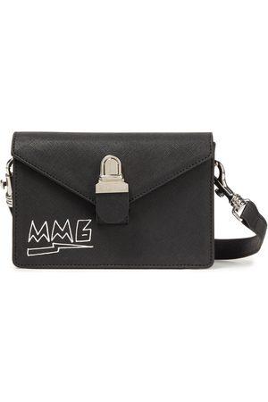 MM6 MAISON MARGIELA Woman Printed Faux Leather Shoulder Bag Size