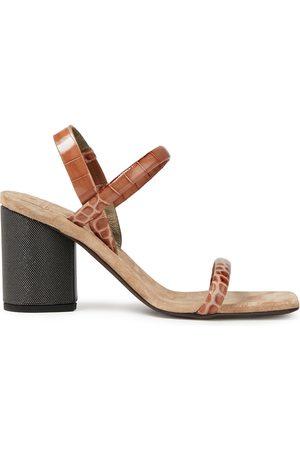 Brunello Cucinelli Woman Bead-embellished Croc-effect Leather Slingback Sandals Light Size 36