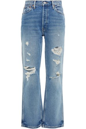 RE/DONE Woman Distressed High-rise Straight-leg Jeans Mid Denim Size 23