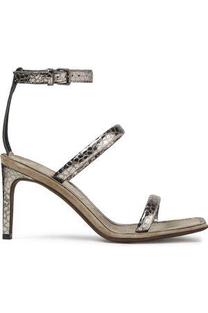 Brunello Cucinelli Woman Metallic Croc-effect Leather Sandals Size 37