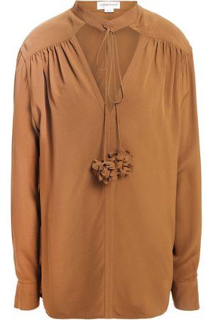 Victoria Beckham Woman Tie-neck Cutout Crepe De Chine Blouse Camel Size 10