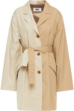 MM6 MAISON MARGIELA Woman Two-tone Cotton-gabardine Trench Coat Size 40