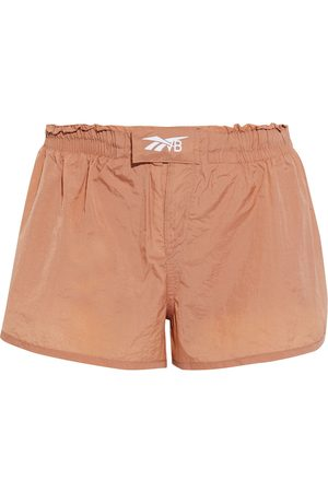Reebok Women Sports Shorts - Woman Snap-detailed Crinkled-shell Shorts Antique Rose Size L