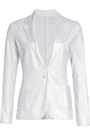 Majestic Women's Stretch Metallic One-Button Blazer - Milk - Size Large