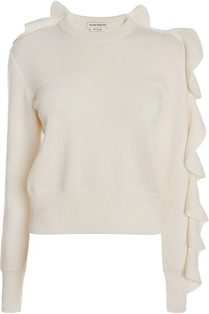 Alexander McQueen Women's Ruffled Wool-Blend Crewneck Pullover - Ivory - Size Medium