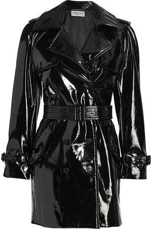 Saint Laurent Women's Vinyl Trench Coat - Noir - Size 8