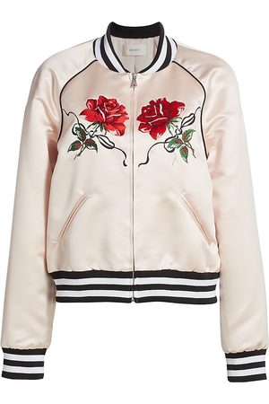 RODARTE Women's Satin Rose Embroidered Bomber Jacket - Light - Size XS