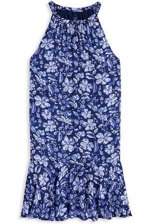 Vineyard Vines Little Girl's & Girl's Hibiscus Print Halter Dress - Deep Bay - Size 10