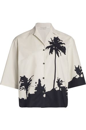 DRIES VAN NOTEN Women's Ink Blog Palm Tree Graphic Short-Sleeve Shirt - - Size 2