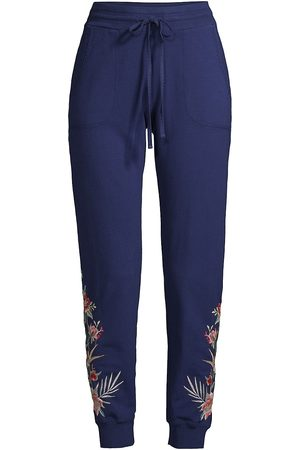 JOHNNY WAS Women Sweatpants - Women's Floral Embroidered Joggers - Navy - Size Medium