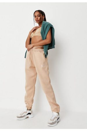 Missguided Women Sweatpants - Sand Mg Branded Cut Out Joggers