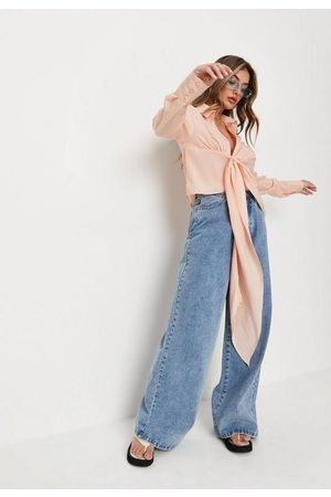 Missguided Peach Linen Look Draped Shirt