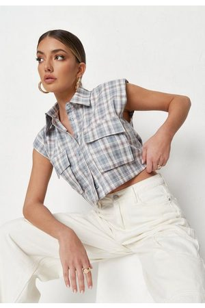 Missguided Women Shirts - Plaid Padded Shoulder Cropped Utility Shirt