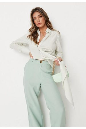 Missguided Women Shirts - Sage Linen Look Draped Shirt