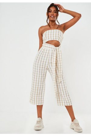 Missguided Stone Gingham Tie Front Culotte Romper