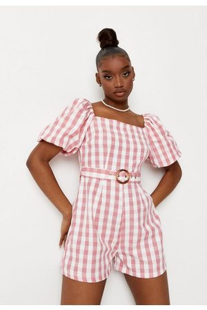 Missguided Women Playsuits - Gingham Belted Milkmaid Romper