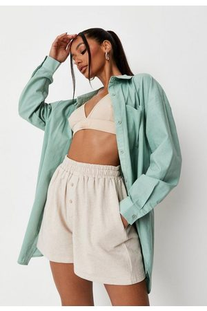 Missguided Women Shorts - Stone Jersey Boxer Shorts