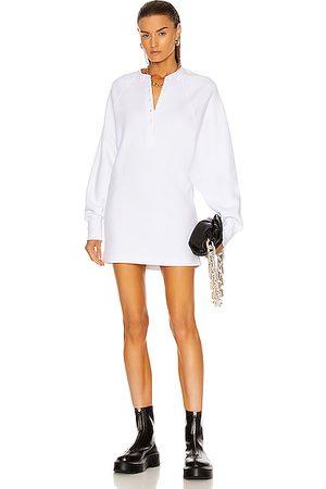 Marissa Webb Women Dresses - So Uptight Plunge Henley Sweatshirt Dress in