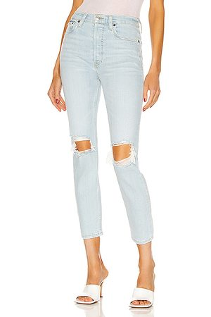 RE/DONE Women 90's High Rise Ankle Crop in Denim-Light