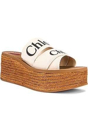 Chloé Women Mules - Woody Canvas Espadrille Mules in