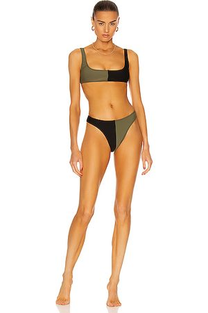 Matthew Bruch Women Bikinis - Anna High-Cut Colorblocked Bikini Set in