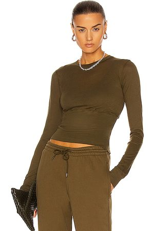 WARDROBE.NYC Fitted Crop Long Sleeve Tee in Army