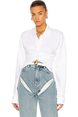 Y / PROJECT Women Polo Shirts - Ruched Corset Polo Top in