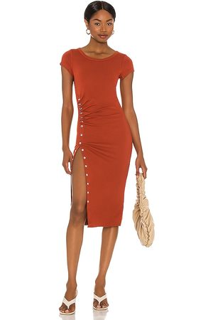 AllSaints Hatti Tee Dress in Rust.