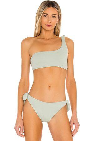 Minkpink Marseille One Shoulder Bikini Top in Sage.