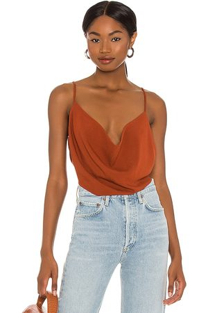 Indah Polina Solid 70s Cowl Neck Cami in Rust.