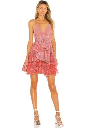 CHIO Plisse Degrade Lurex Frill Dress in .