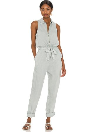 Bella Dahl Sleeveless Zip Front Jumpsuit in Baby Blue.