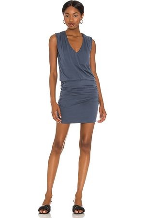 MONROW Tucked Shoulder Shirred Dress in Navy.