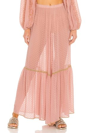 CHIO Women Wide Leg Pants - Wide Leg Embroidered Pants in Blush.